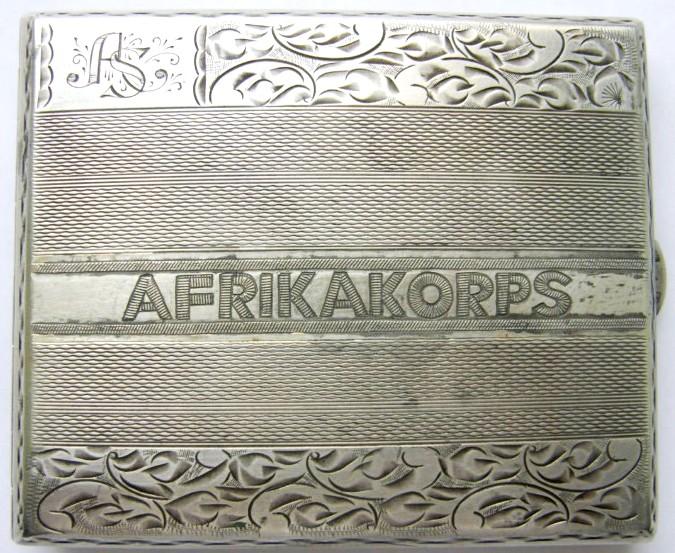 """DAK/ Pitillera """"AFRIKAKORPS"""" en Plata """"800"""" con logo """"FK""""."""